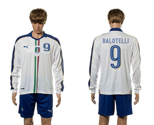 Italy #9 Balotelli White Away Long Sleeves Soccer Country Jersey
