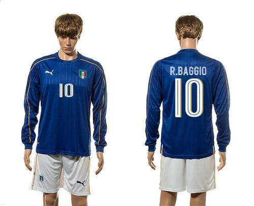 Italy #10 R.Baggio Blue Home Long Sleeves Soccer Country Jersey