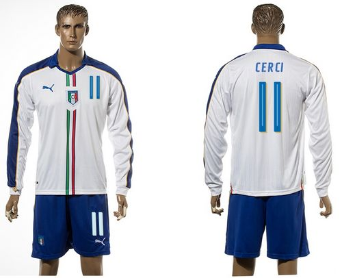 Italy #11 Cerci White Away Long Sleeves Soccer Country Jersey
