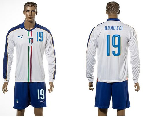 Italy #19 Bonucci White Away Long Sleeves Soccer Country Jersey