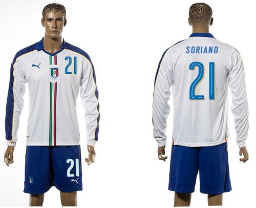 Italy #21 Soriano White Away Long Sleeves Soccer Country Jersey