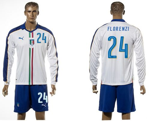 Italy #24 Florenzi White Away Long Sleeves Soccer Country Jersey