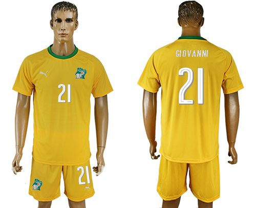 Cote d'lvoire #21 Giovanni Home Soccer Country Jersey