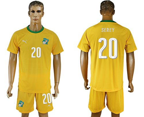 Cote d'lvoire #20 Serey Home Soccer Country Jersey