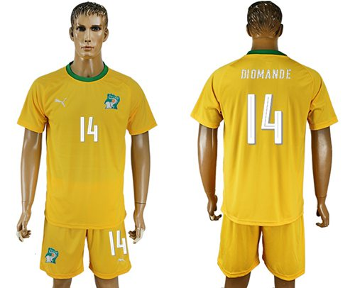 Cote d'lvoire #14 Diomande Home Soccer Country Jersey