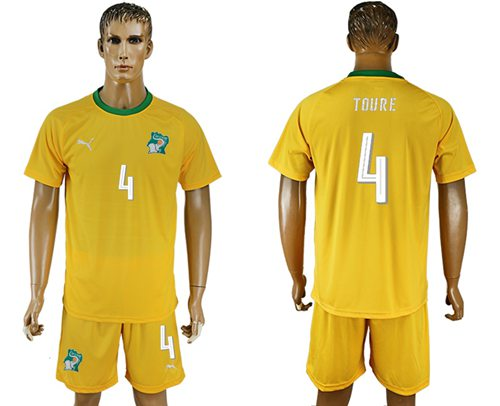 Cote d'lvoire #4 Toure Home Soccer Country Jersey