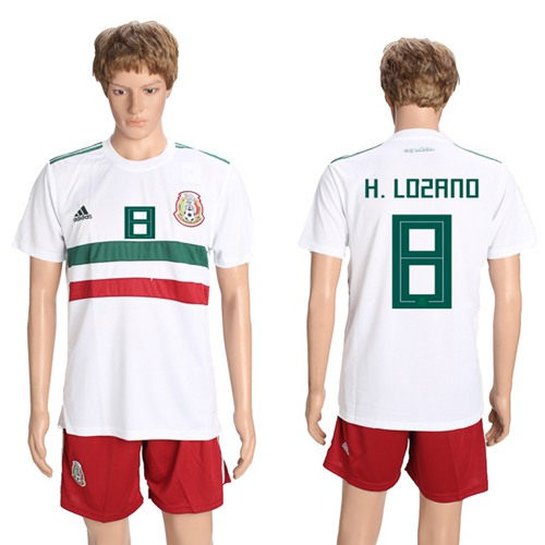 Mexico #8 H.Lozano Away Soccer Country Jersey