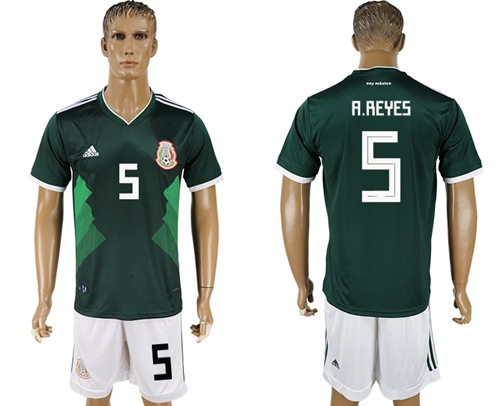 Mexico #5 A.Reyes Green Home Soccer Country Jersey
