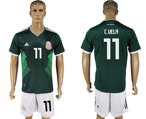 Mexico #11 C.Vela Green Home Soccer Country Jersey