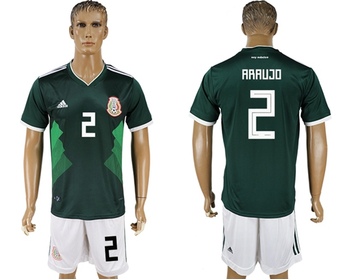 Mexico #2 Araujo Green Home Soccer Country Jersey