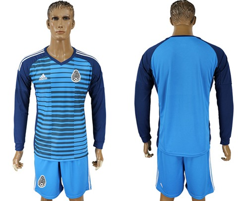 Mexico Blank Blue Long Sleeves Goalkeeper Soccer Country Jersey