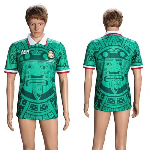 Mexico Blank Green 1998 Throwback Soccer Country Jersey