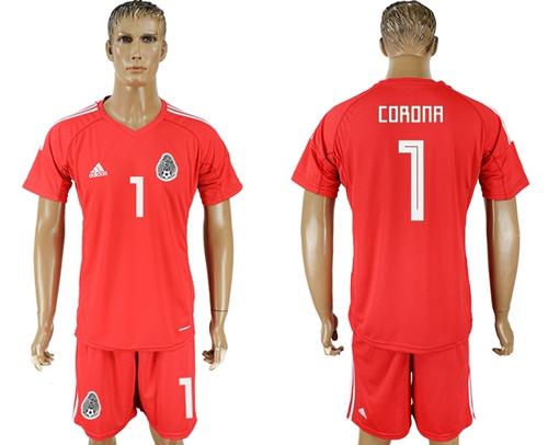 Mexico #1 Corona Red Goalkeeper Soccer Country Jersey