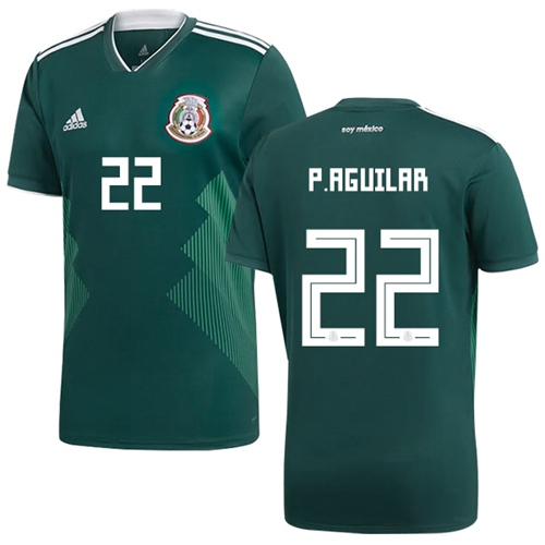 Mexico #22 P.Aguilar Green Home Soccer Country Jersey