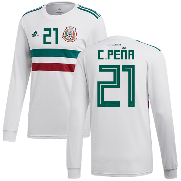 Mexico #21 C.Pena Away Long Sleeves Soccer Country Jersey