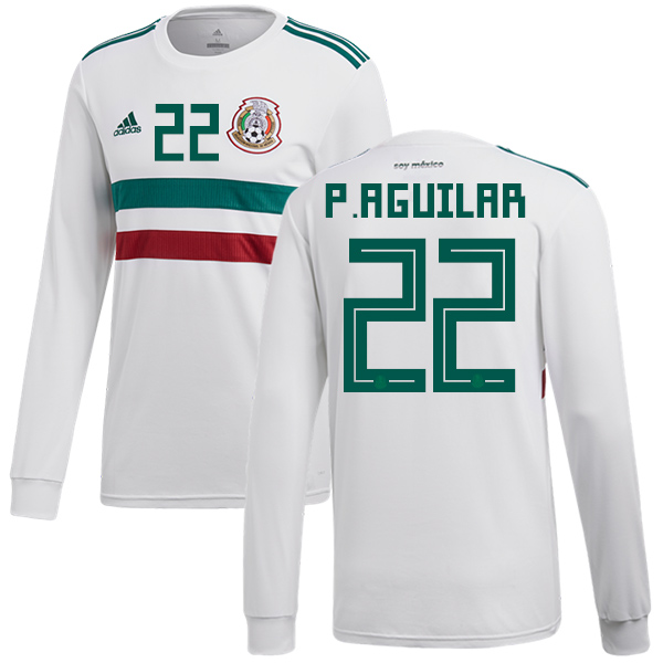 Mexico #22 P.Aguilar Away Long Sleeves Soccer Country Jersey