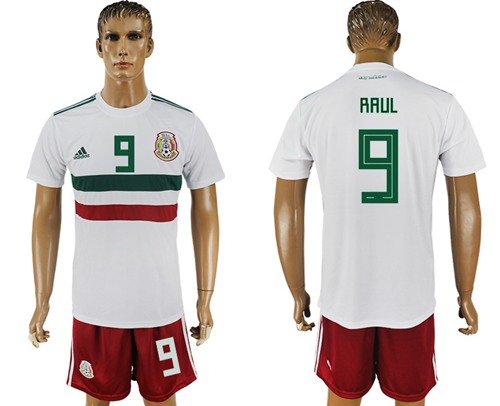 Mexico #9 Raul Away Soccer Country Jersey