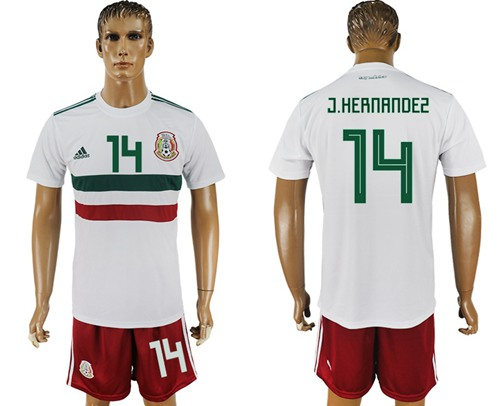 Mexico #14 J.Hernandez Away Soccer Country Jersey