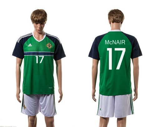 Northern Ireland #17 McNAIR Green Home Soccer Country Jersey