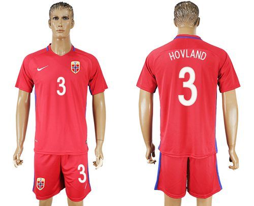 Norway #3 Hovland Home Soccer Country Jersey