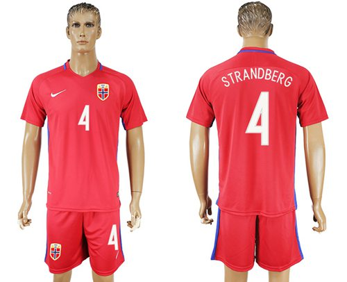 Norway #4 Strandberg Home Soccer Country Jersey