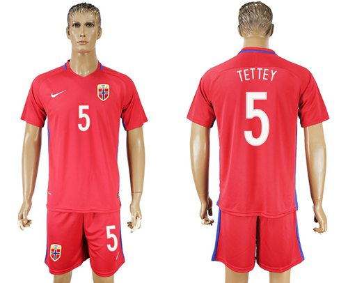 Norway #5 Tettey Home Soccer Country Jersey