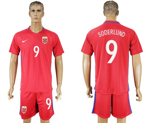 Norway #9 Soderlund Home Soccer Country Jersey