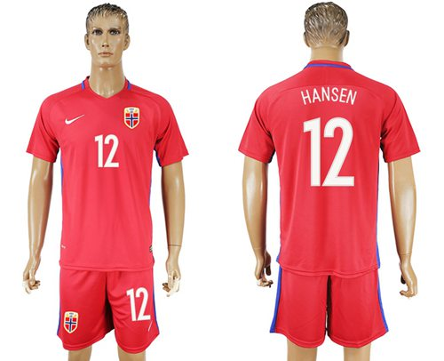Norway #12 Hansen Home Soccer Country Jersey