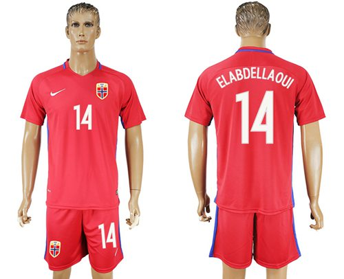 Norway #14 Elabdellaoui Home Soccer Country Jersey