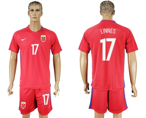 Norway #17 Linnes Home Soccer Country Jersey