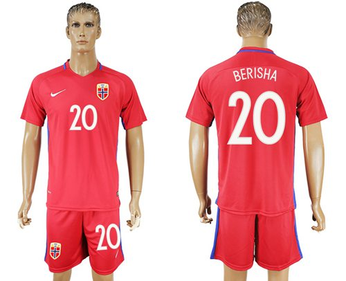 Norway #20 Berisha Home Soccer Country Jersey