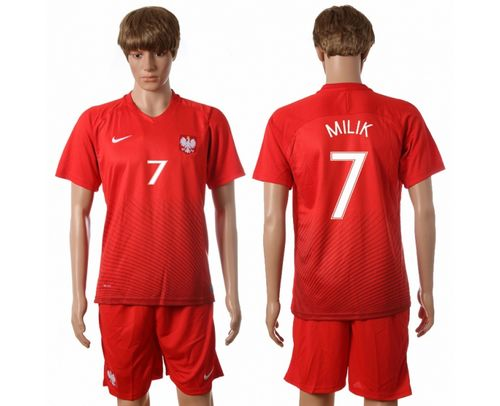 Poland #7 Milik Away Soccer Country Jersey