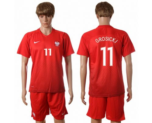 Poland #11 Grosicki Away Soccer Country Jersey