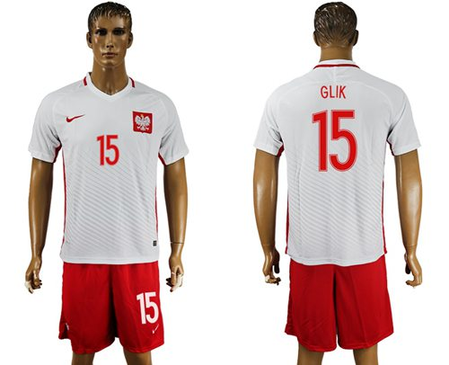 Poland #15 Glik Home Soccer Country Jersey