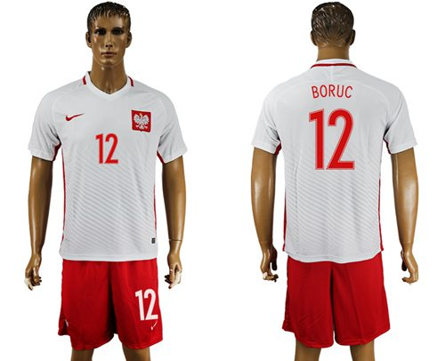 Poland #12 Boruc Home Soccer Country Jersey