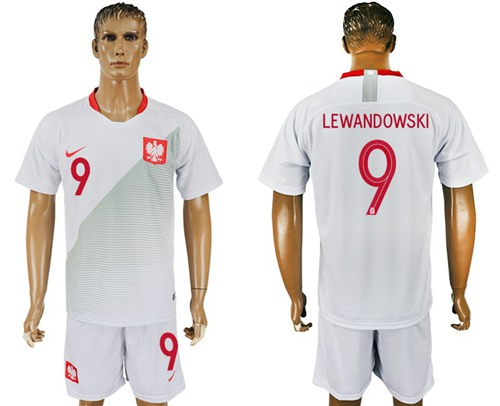 Poland #9 Lewandowski Home Soccer Country Jersey