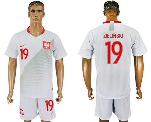 Poland #19 Zielinski Home Soccer Country Jersey