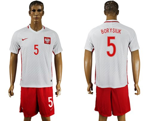 Poland #5 Borysiuk Home Soccer Country Jersey