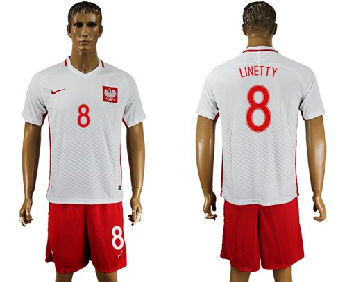 Poland #8 Linetty Home Soccer Country Jersey