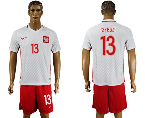 Poland #13 Rybus Home Soccer Country Jersey