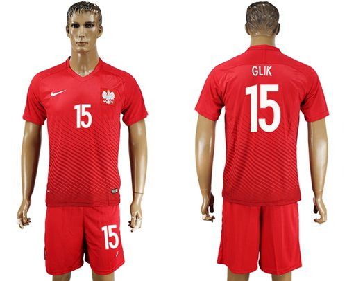Poland #15 Glik Away Soccer Country Jersey