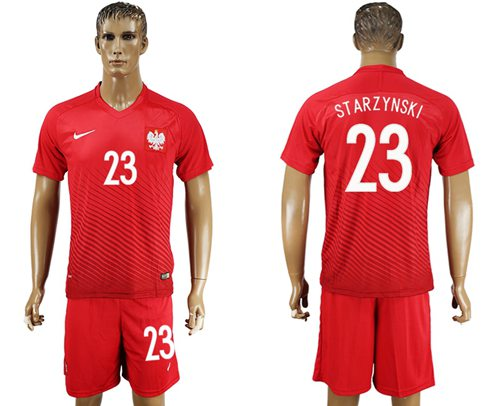 Poland #23 Starzynski Away Soccer Country Jersey