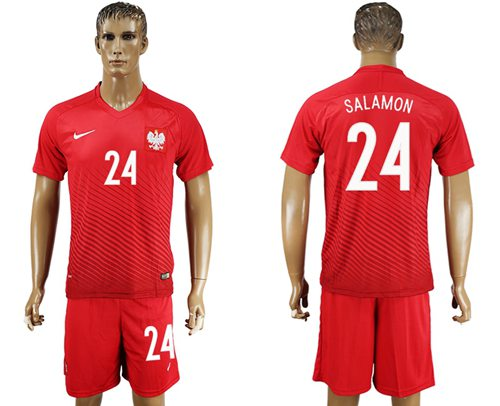 Poland #24 Salamon Away Soccer Country Jersey