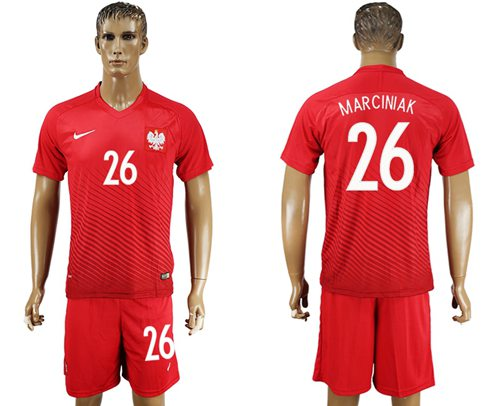 Poland #26 Marciniak Away Soccer Country Jersey