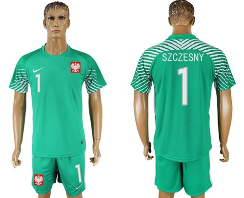 Poland #1 Szczesny Green Goalkeeper Soccer Country Jersey