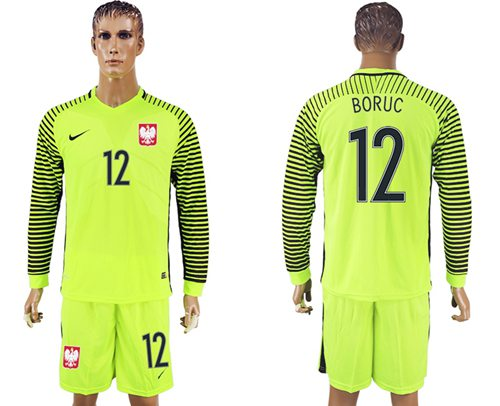 Poland #12 Boruc Green Long Sleeves Goalkeeper Soccer Country Jersey