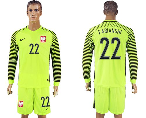 Poland #22 Fibianshi Green Long Sleeves Goalkeeper Soccer Country Jersey