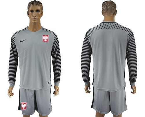 Poland Blank Grey Goalkeeper Long Sleeves Soccer Country Jersey