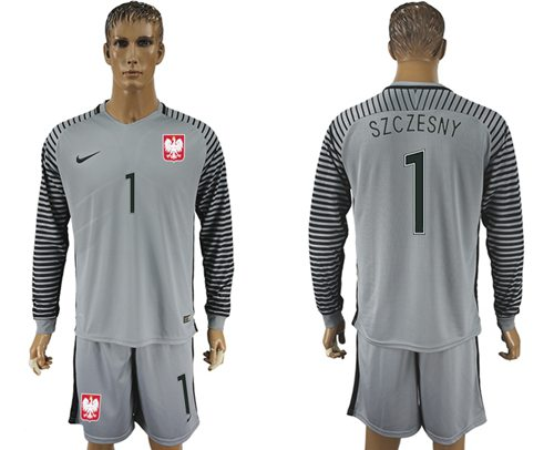 Poland #1 Szczesny Grey Goalkeeper Long Sleeves Soccer Country Jersey