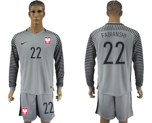 Poland #22 Fabianshi Grey Goalkeeper Long Sleeves Soccer Country Jersey